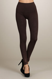 M Rena Dark Brown Tummy Tuck Legging with Metallic Splatter Print