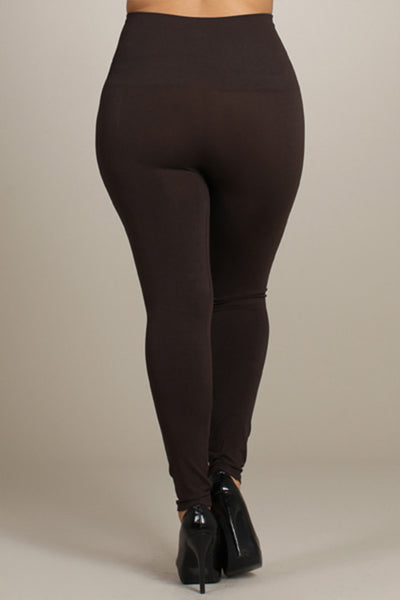 M. Rena Dark Brown Plus Size Tummy Tuck Legging