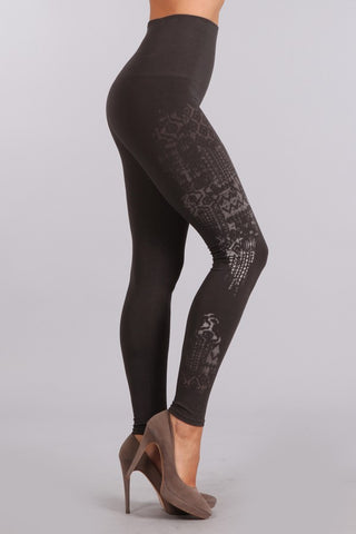 Tummy Tuck Legging with Ikat Print