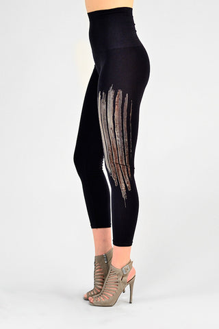 M. Rena Ink Birch Wood Print Cropped Tummy Tuck Leggings