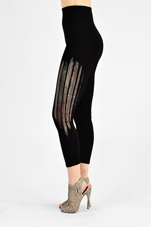M. Rena Black Birch Wood Print Cropped Tummy Tuck Leggings