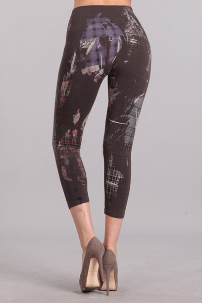 Abstract Plaid Printed Cropped Tummy Tuck Leggings