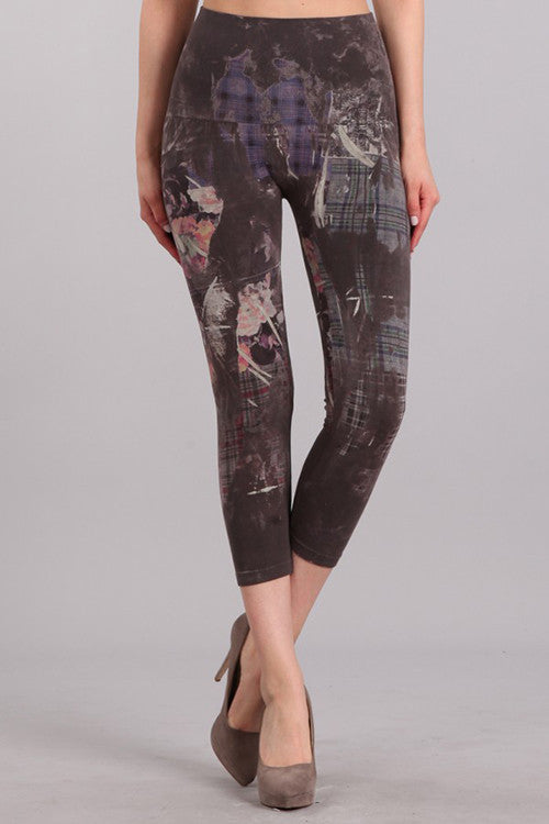 M. Rena Dark Grey Abstract Plaid Printed Cropped Tummy Tuck Leggings