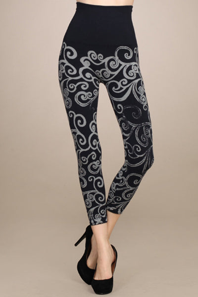 M. Rena Ink with Off White Printed Swirl Cropped Legging