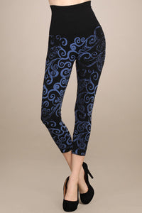 M. Rena Black with Blue Printed Swirl Cropped Legging