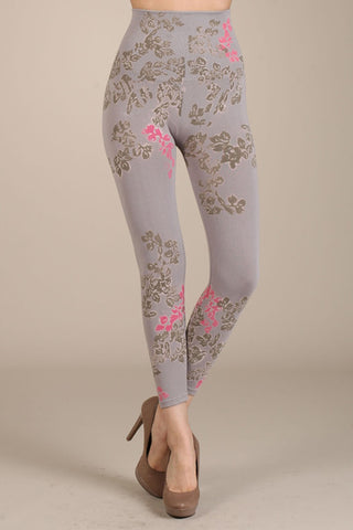 M. Rena Opal Grey Blossom Print Cropped Tummy Tuck Leggings