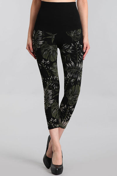 M. Rena Black Palm Leaves Printed Cropped Tummy Tuck Leggings