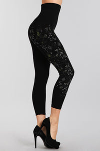M. Rena Black Rose Vine Printed Cropped Tummy Tuck Leggings