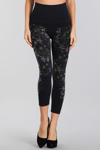 M. Rena Ink Rose Vine Printed Cropped Tummy Tuck Leggings