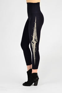 M. Rena Black Compass Design Cropped Tummy Tuck Leggings