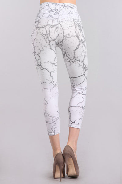 Marble Print Cropped Tummy Tuck Legging