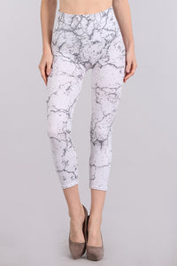 M. Rena Off White Marble Print Cropped Tummy Tuck Legging