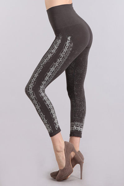 M. Rena Dark Grey Chantilly Lace Printed Cropped Tummy Tuck Leggings