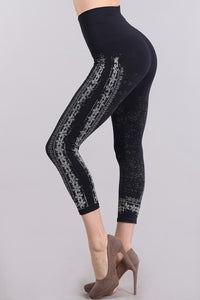M. Rena Ink Chantilly Lace Printed Cropped Tummy Tuck Leggings