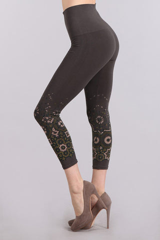 M. Rena Dark Grey Mosaic Tile Print Cropped Tummy Tuck Leggings