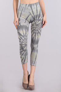 M. Rena Opal Grey Ocean Tie Dye Print Cropped Tummy Tuck Leggings