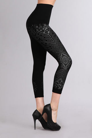 M. Rena Black Decadence Print Cropped Tummy Tuck Leggings