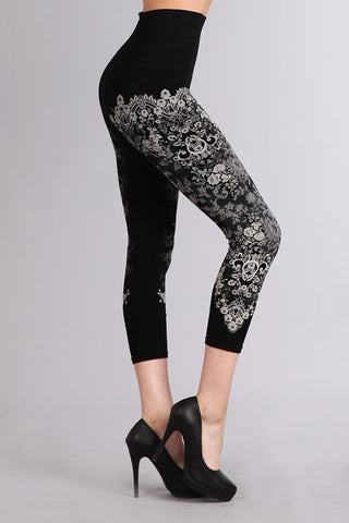 French Lace Print Cropped Tummy Tuck Leggings