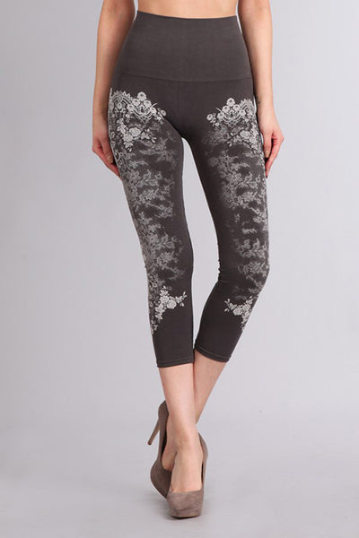 M. Rena Dark Grey French Lace Print Cropped Tummy Tuck Leggings
