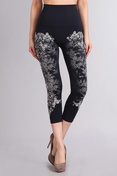M. Rena Ink French Lace Print Cropped Tummy Tuck Leggings