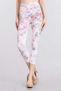 M. Rena White Havana Lilly Print Cropped Tummy Tuck Leggings