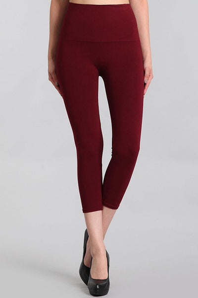 M. Rena Burgundy Cropped Tummy Tuck Legging