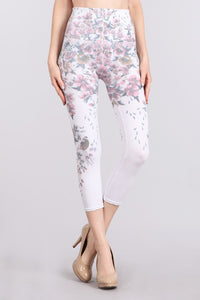 M. Rena White Woodland Floral Printed Cropped Tummy Tuck Legging