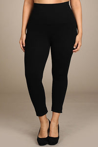 M. Rena Black Plus Size Cropped Tummy Tuck Legging