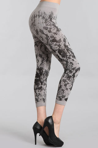 Mesh Lace Printed Leggings