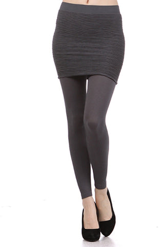 All Over Ribbed Skirt Legging