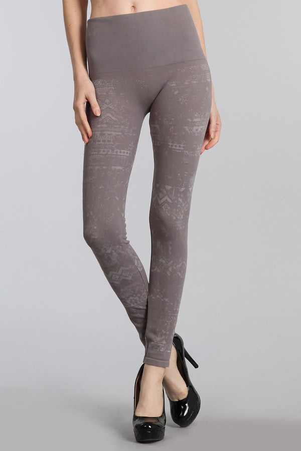 Distressed Ethnic Printed Leggings