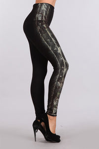 M Rena Side Brush Print Denim Legging
