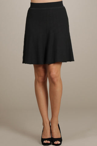 M. Rena Black Flared Skirt