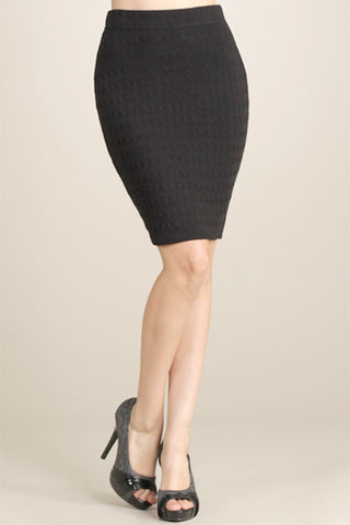 M. Rena Black Cable Knit Pencil Skirt