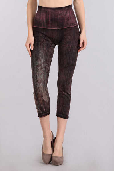 M. Rena Black Faded Leaves Print Cropped Denim Leggings