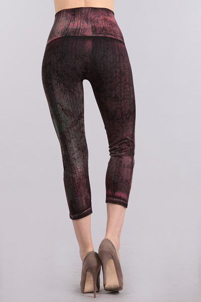 Faded Leaves Print Cropped Denim Leggings