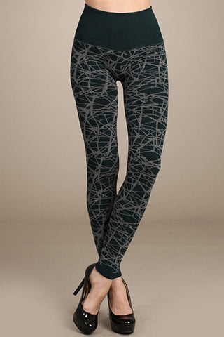 M. Rena Seaweed Abstract Web Tummy Tuck Sweater Legging