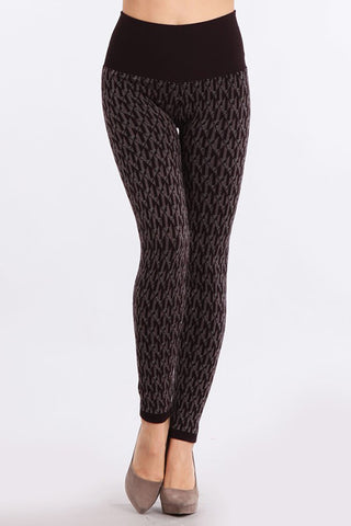 M Rena Deep Wine Geo Pattern Tummy Tuck Jacquard Sweater Legging