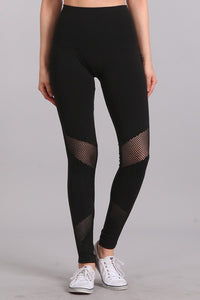 M. Rena Black Mesh Panel Tummy Tuck Leggings
