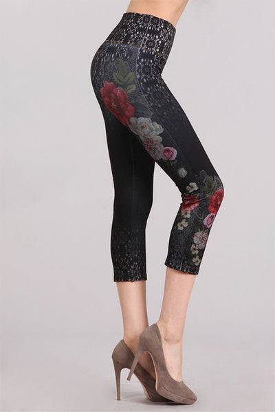 Spanish Floral Printed Denim Legging