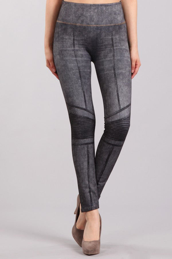 M. Rena Charcoal Moto Sublimation Print Leggings