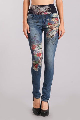 Flower Fields Printed High Waist Jeans