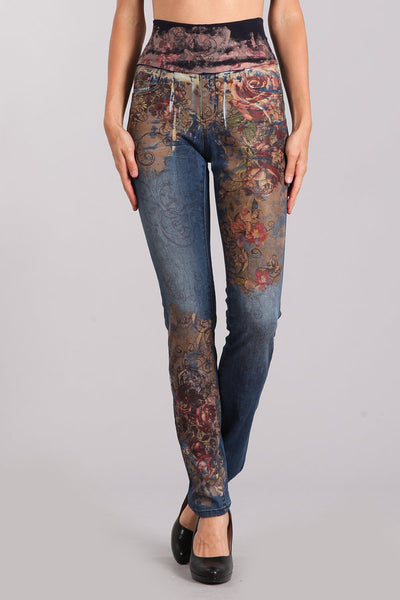 Rose Printed High Waist Denim Jeans