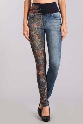 Forest Floral Printed High Waist Jeans