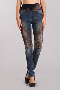 Tapestry Printed High Waist Jeans