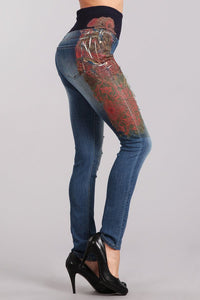 Paisley Printed High Waist Jeans