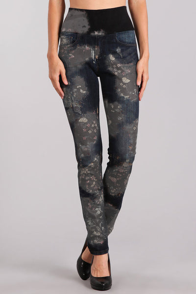 Flower Patch Printed High Waist Jeans