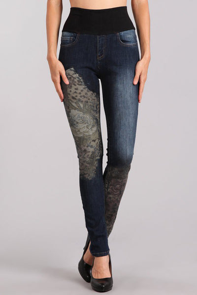 Cheetah Floral Printed High Waist Jeans