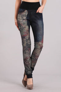 Multicolor Peonies Printed High Waist Jeans
