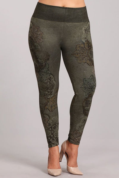 Plus Size - Dusty Arabesque Leggings